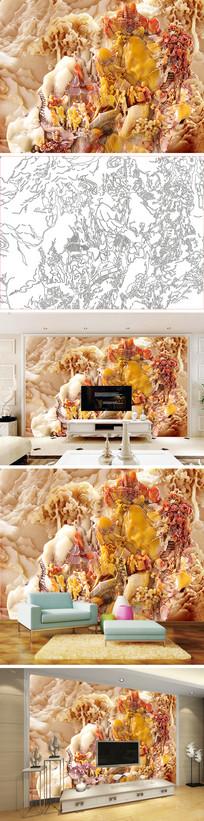 玉雕山水状元背景墙