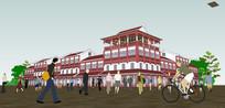 中式粉色商业建筑