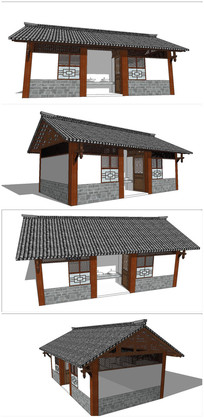中式公共卫生间SU模型