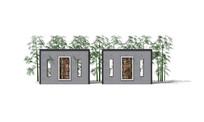 中式镂空花纹观赏竹林景墙