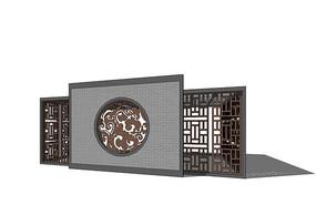中式镂空花纹景墙图片