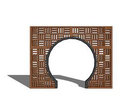 中式镂空花纹圆形门洞景墙