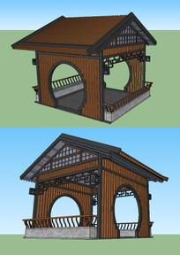 中式木凉亭su模型