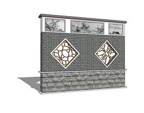中式青砖镂空花纹山水景墙图片