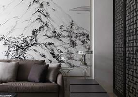 中式山水画背景墙装饰