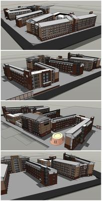 中式校园整体建筑模型