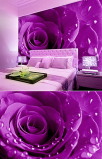 紫色玫瑰花水珠背景墙