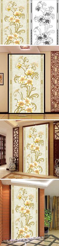 浮雕花朵花边玄关背景墙