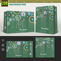 绿色时尚花纹包装袋模板
