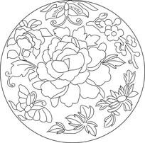 牡丹蝴蝶梅花雕刻图案
