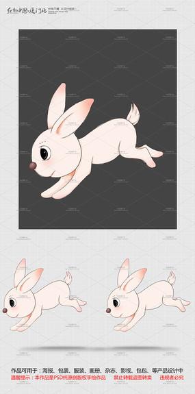 原创手绘卡通跳跃兔子设计 PSD