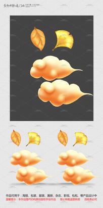 原创手绘云和落叶设计