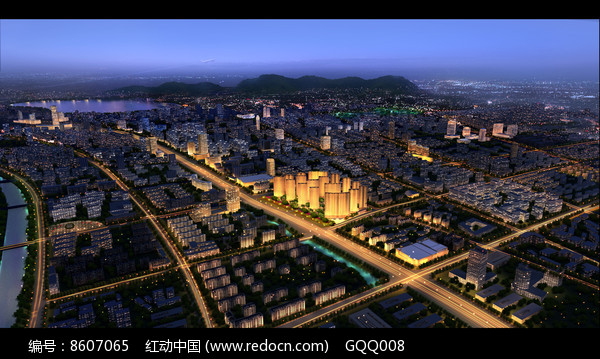 城市夜景鸟瞰效果图图片