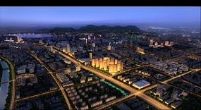 城市夜景鸟瞰效果图