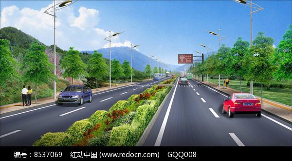 景区标准段道路绿化设计效果图图片