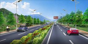 景区标准段道路绿化设计效果图