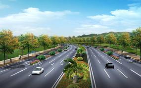 路段绿化设计透视图