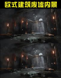 欧式建筑废墟内景视频
