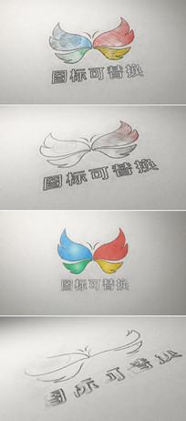 铅笔素描绘制企业标志展示模板