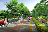 人行道景观设计效果图 JPG