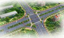 十字路口绿化设计鸟瞰图