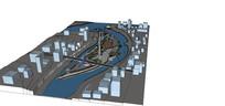 重庆月牙形长岛公园模型