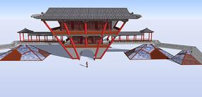 中式古城大门 skp