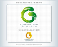 C字母 绿叶logo设计