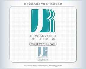 J字母B字母蓝色logo设计