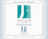 J字母B字母蓝色logo设计 AI