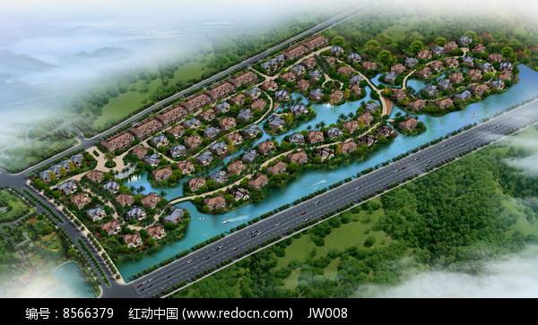 滨河欧式建筑小区鸟瞰图图片