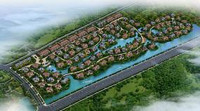 滨河欧式建筑小区鸟瞰图