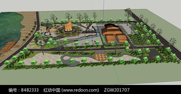 滨水公园景观SU图片