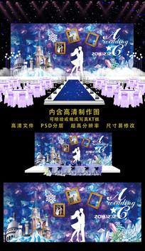 城堡精美婚礼舞台背景 PSD