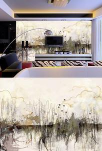 抽象画树林背景墙