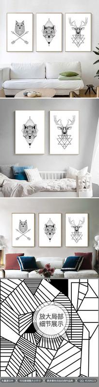 创意几何动物图暗无框画装饰画