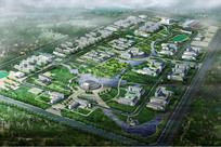 大学景观规划鸟瞰图