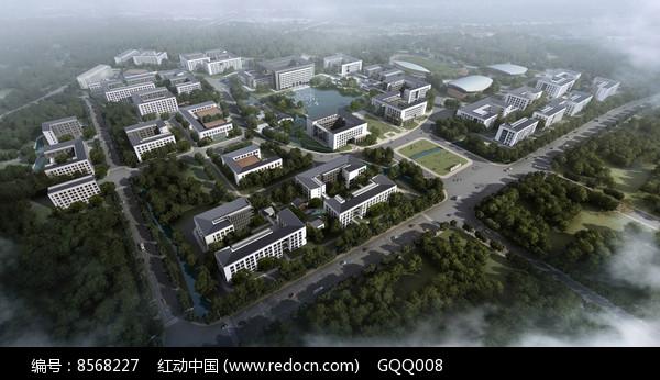 大学校园规划总体鸟瞰图片