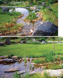 度假别墅草坪溪水景观