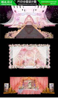 粉色欧式花海主题婚礼背景设计 PSD