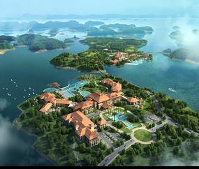 海岛度假区鸟瞰图 PSD