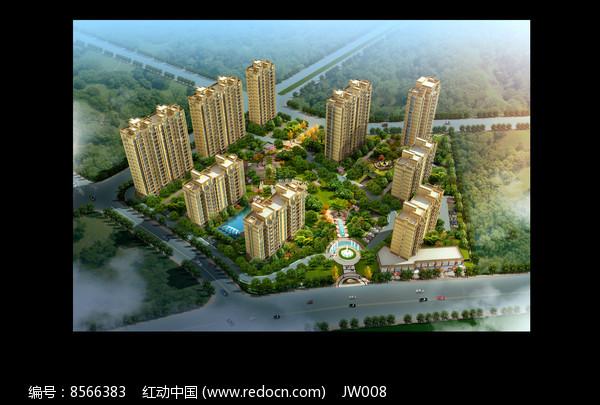 黄色建筑群小区鸟瞰图图片