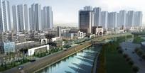 徽派滨河建筑景观