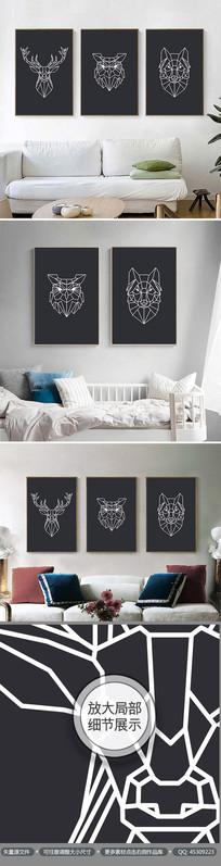 几何动物黑白图案无框画装饰画