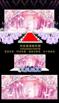 精美粉色蝴蝶婚礼舞台背景 PSD