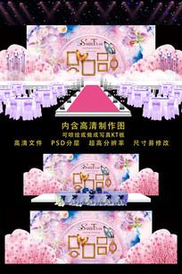 精美粉色婚礼舞台背景 PSD