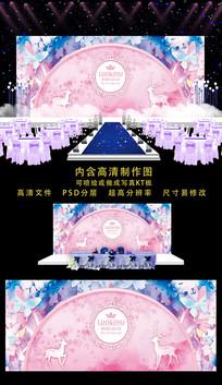 精美水彩婚礼舞台背景 PSD