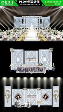 蓝白色欧式婚礼设计 PSD