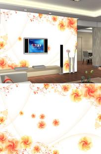 梦幻花朵线条背景墙