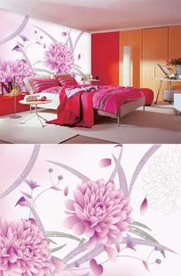 手绘菊花线条背景墙